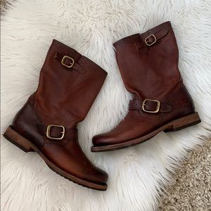 Frye Veronica short leather boot with buckles